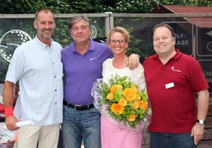 Von links: Karl-Heinz Mayerhofer (Sportmanager), Karl-Heinz Heilmeier (Vizepräsident), Michaela Mayerhofer (Inititiatorin der Hilfsaktion) und Martin Fleischer (Quirin Bank).