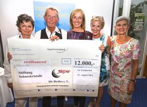 Gruppenbild mit Spendenscheck: v. l. Annemie Grafe, Gerhard Fuhrmann, Michaela Gerg, Regine Israel und Elisabeth Gröschel.