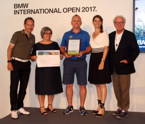 Sieger Web – Golfclub Schwanhof, von links: BayMeGo-Vorsitzender Ralf Exel, Lina Leite (Algarve Tourismus), Christian Breunig (Schwanhof), Corinna Binzer (Jury-Vorsitzende) und BGV-Präsident Norbert Löhlein. Fotos: Horst Huber